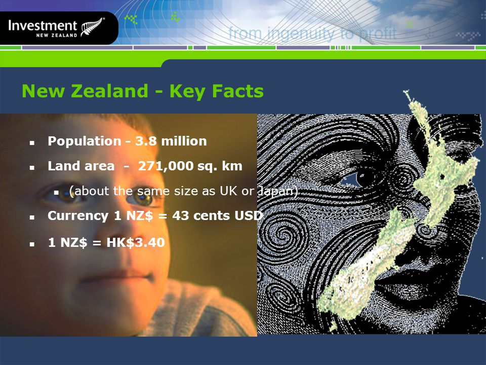 New Zealand - Key Facts Population - 3.8 million Land area - 271,000 sq.