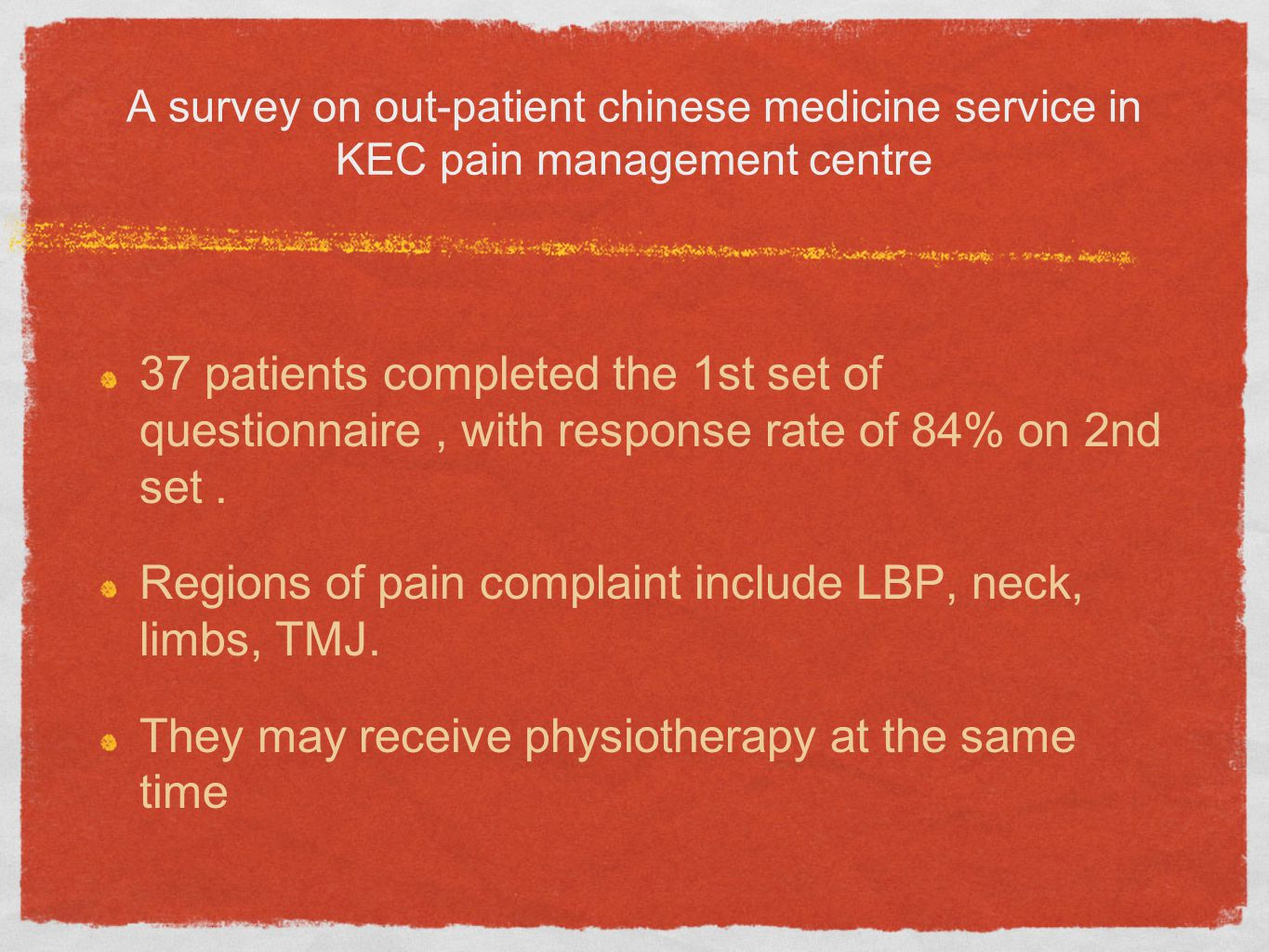 37 patients completed the 1st set of questionnaire, with response rate of 84% on 2nd set.
