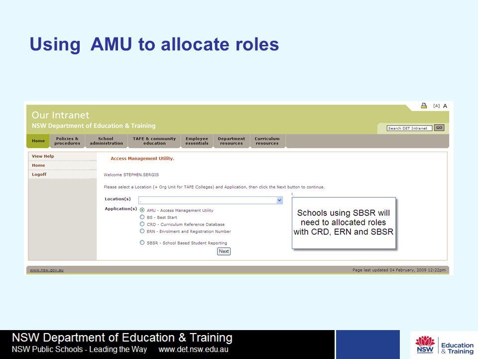 Using AMU to allocate roles