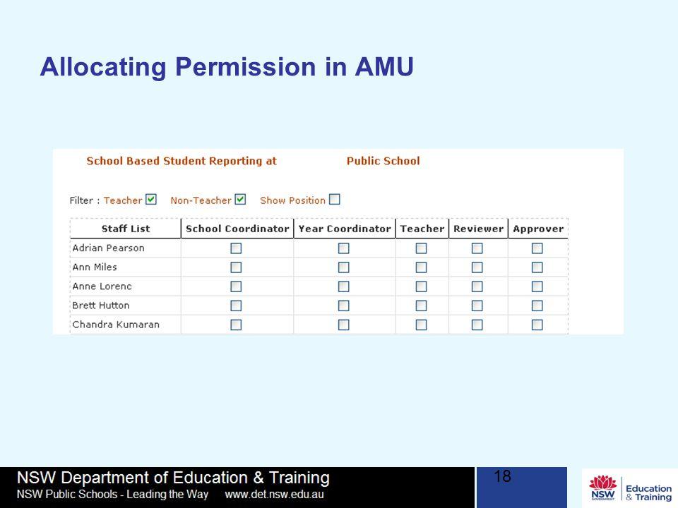 18 Allocating Permission in AMU