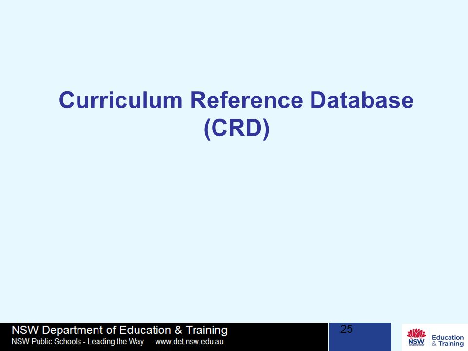 Curriculum Reference Database (CRD) 25
