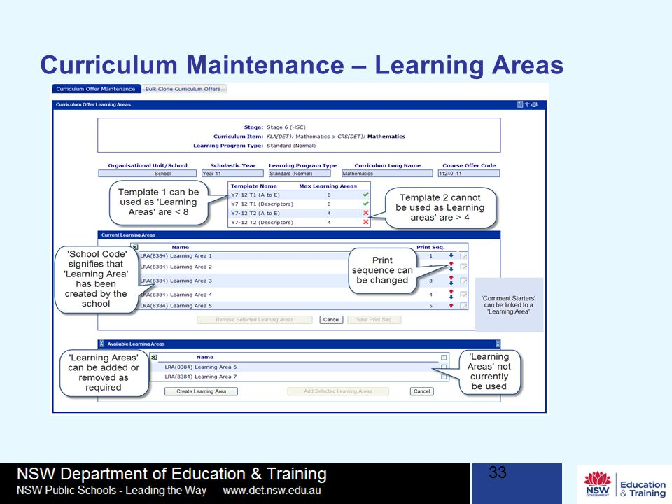 Curriculum Maintenance – Learning Areas 33