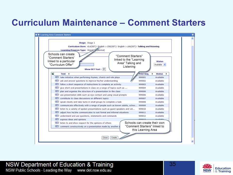 Curriculum Maintenance – Comment Starters 35