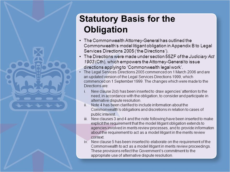 What is the Model Litigant Obligation.