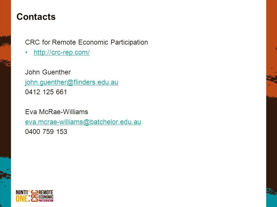Contacts CRC for Remote Economic Participation http://crc-rep.com/ John Guenther john.guenther@flinders.edu.au 0412 125 661 Eva McRae-Williams eva.mcr