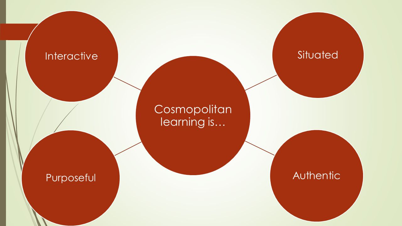 Cosmopolitan learning is… Situated Authentic Purposeful Interactive