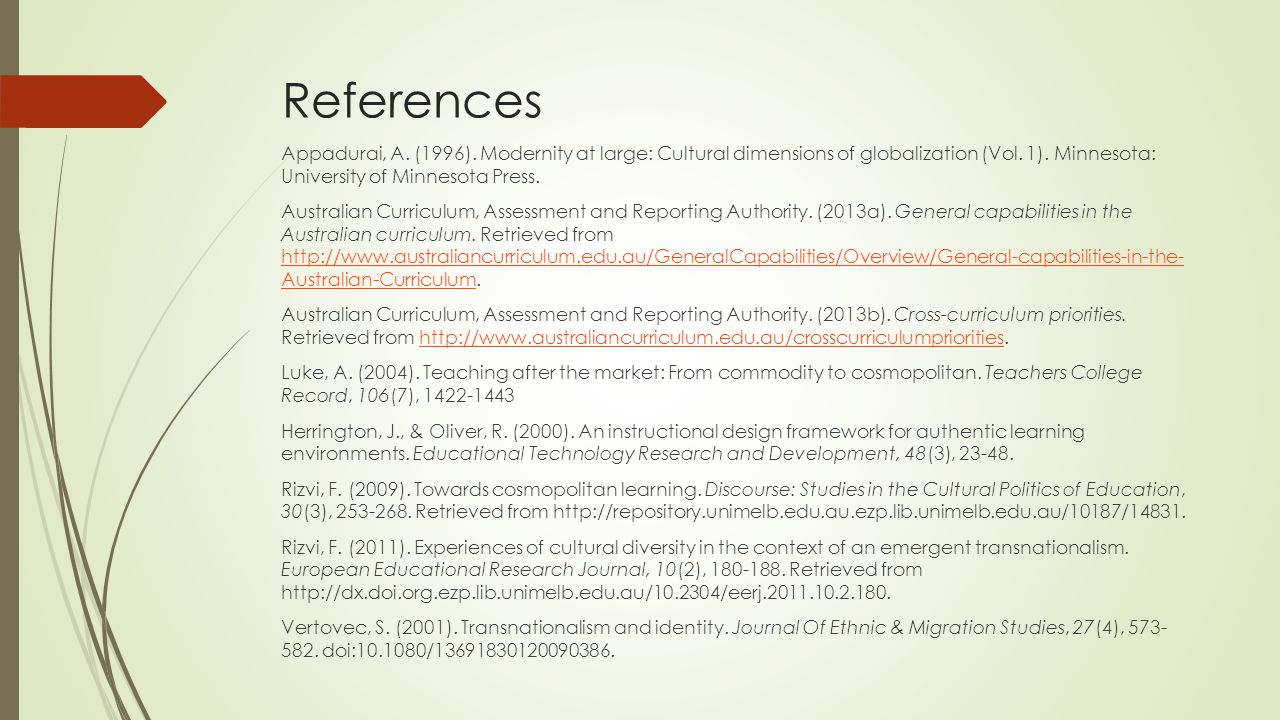 References Appadurai, A.(1996). Modernity at large: Cultural dimensions of globalization (Vol.