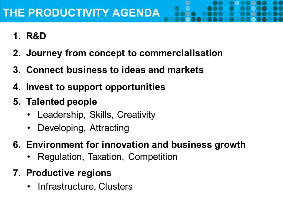 THE PRODUCTIVITY AGENDA 1. R&D 2. Journey from concept to commercialisation 3.