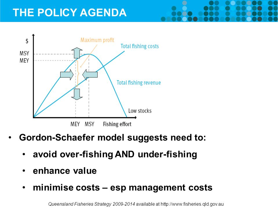 THE POLICY AGENDA Gordon-Schaefer model suggests need to: avoid over-fishing AND under-fishing enhance value minimise costs – esp management costs Queensland Fisheries Strategy 2009-2014 available at http://www.fisheries.qld.gov.au