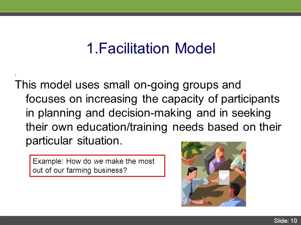 Slide: 10 1.Facilitation Model.