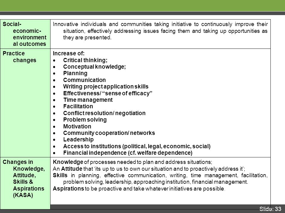 Slide: 33 Knowledge of processes needed to plan and address situations; An Attitude that 'its up to us to own our situation and to proactively address it'; Skills in planning, effective communication, writing, time management, facilitation, problem solving, leadership, approaching institution, financial management.