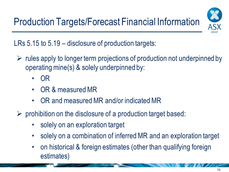 14 Production Targets/Forecast Financial Information LRs 5.15 to 5.19 – disclosure of production targets:  rules apply to longer term projections of production not underpinned by operating mine(s) & solely underpinned by: OR OR & measured MR OR and measured MR and/or indicated MR  prohibition on the disclosure of a production target based: solely on an exploration target solely on a combination of inferred MR and an exploration target on historical & foreign estimates (other than qualifying foreign estimates)