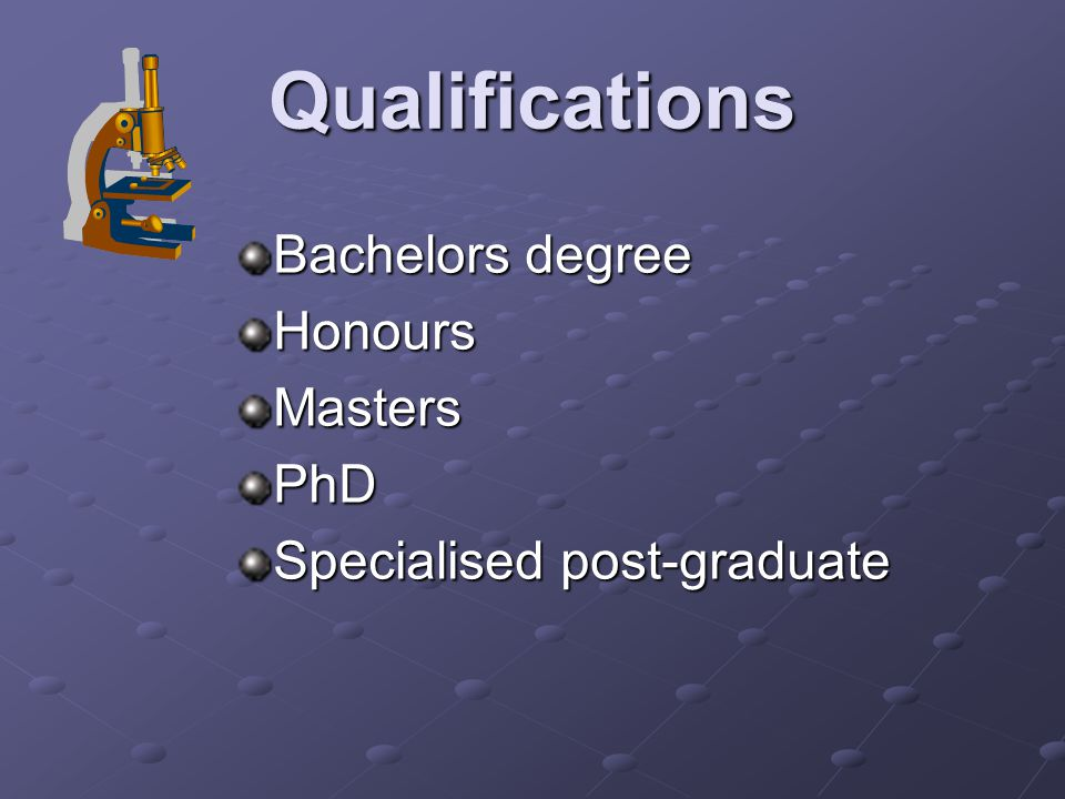 Qualifications Bachelors degree HonoursMastersPhD Specialised post-graduate