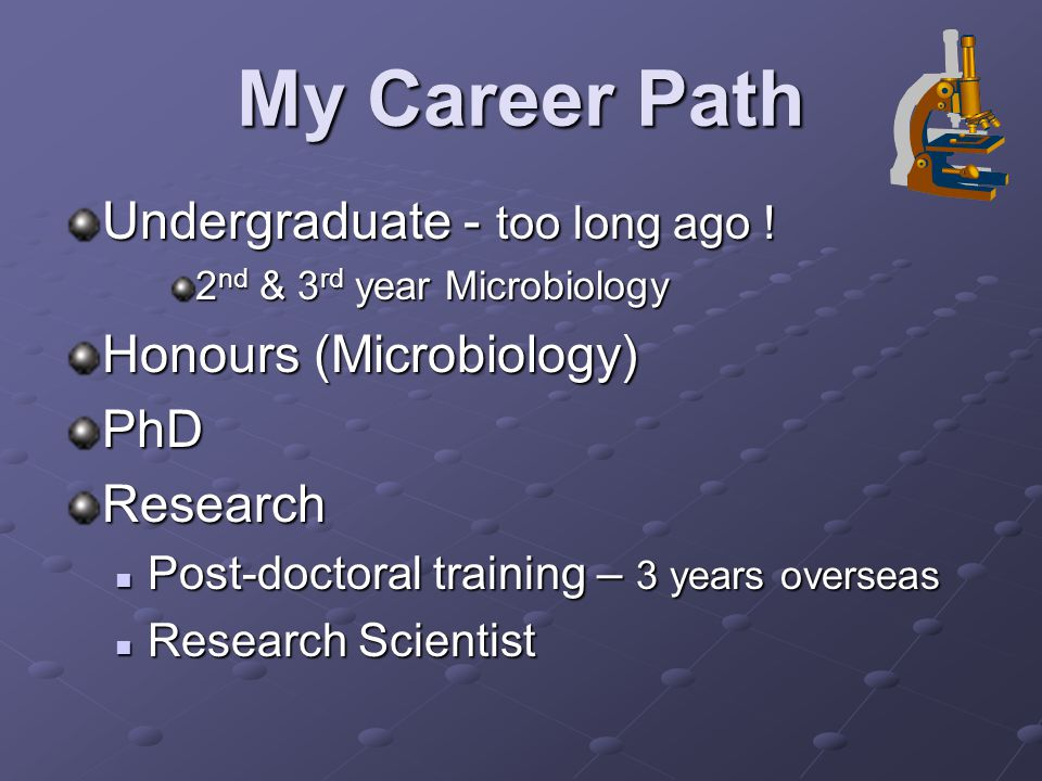 My Career Path Undergraduate - too long ago ! 2 nd & 3 rd year Microbiology Honours (Microbiology) PhDResearch Post-doctoral training – 3 years overse