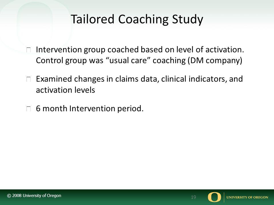 © 2008 University of Oregon 19 Tailored Coaching Study ▶ Intervention group coached based on level of activation.
