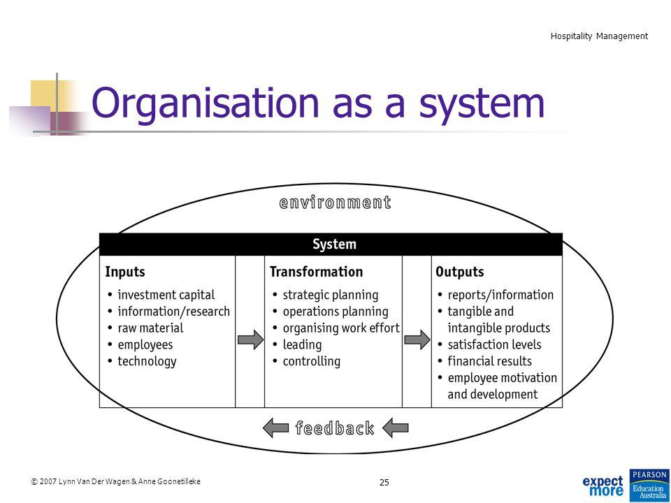 25 © 2007 Lynn Van Der Wagen & Anne Goonetilleke Hospitality Management Organisation as a system