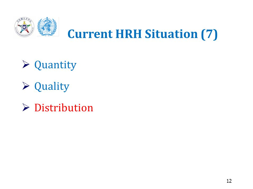12 Current HRH Situation (7)  Quantity  Quality  Distribution