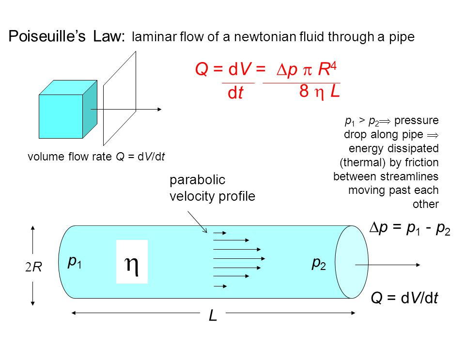 Poiseuille's Law: laminar flow of a newtonian fluid through a pipe volume flow rate Q = dV/dt Q = dV/dt  RR L p1p1 p2p2  p = p 1 - p 2 Q = dV =  p  R 4 8  L dtdt parabolic velocity profile p 1 > p 2  pressure drop along pipe  energy dissipated (thermal) by friction between streamlines moving past each other