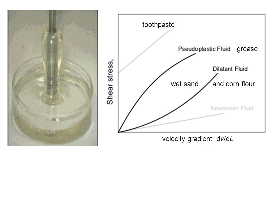 toothpaste velocity gradient dv/dL grease wet sand and corn flour