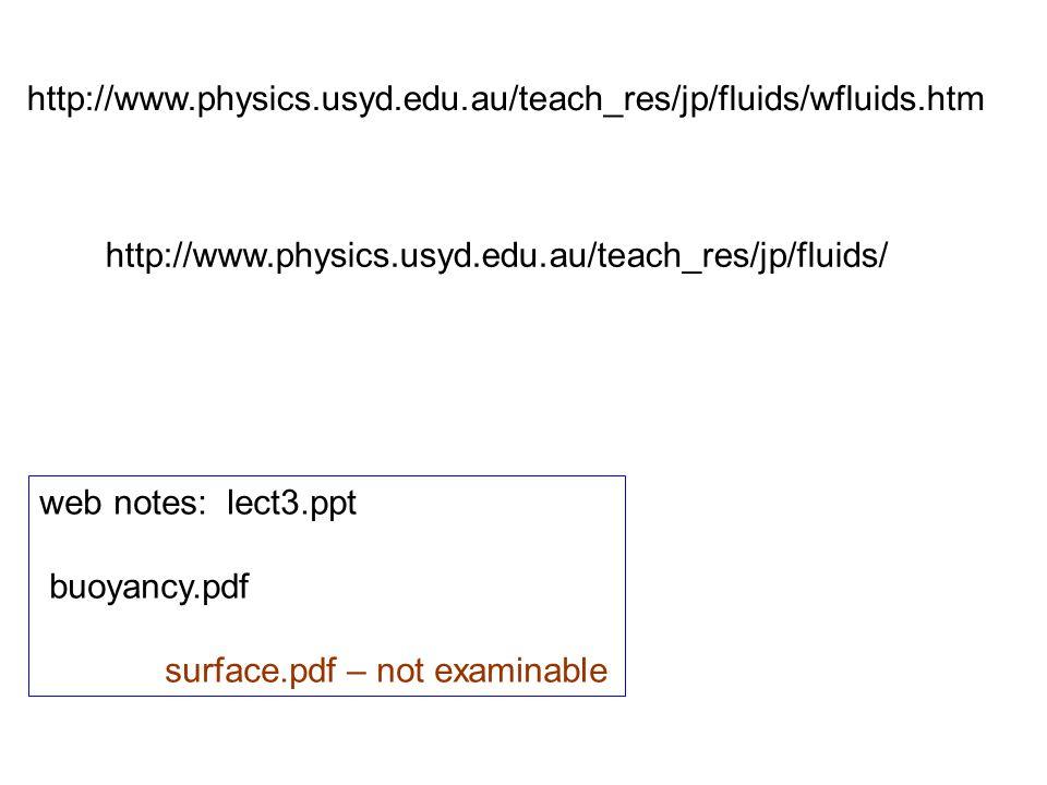 http://www.physics.usyd.edu.au/teach_res/jp/fluids/wfluids.htm http://www.physics.usyd.edu.au/teach_res/jp/fluids/ web notes: lect3.ppt buoyancy.pdf s