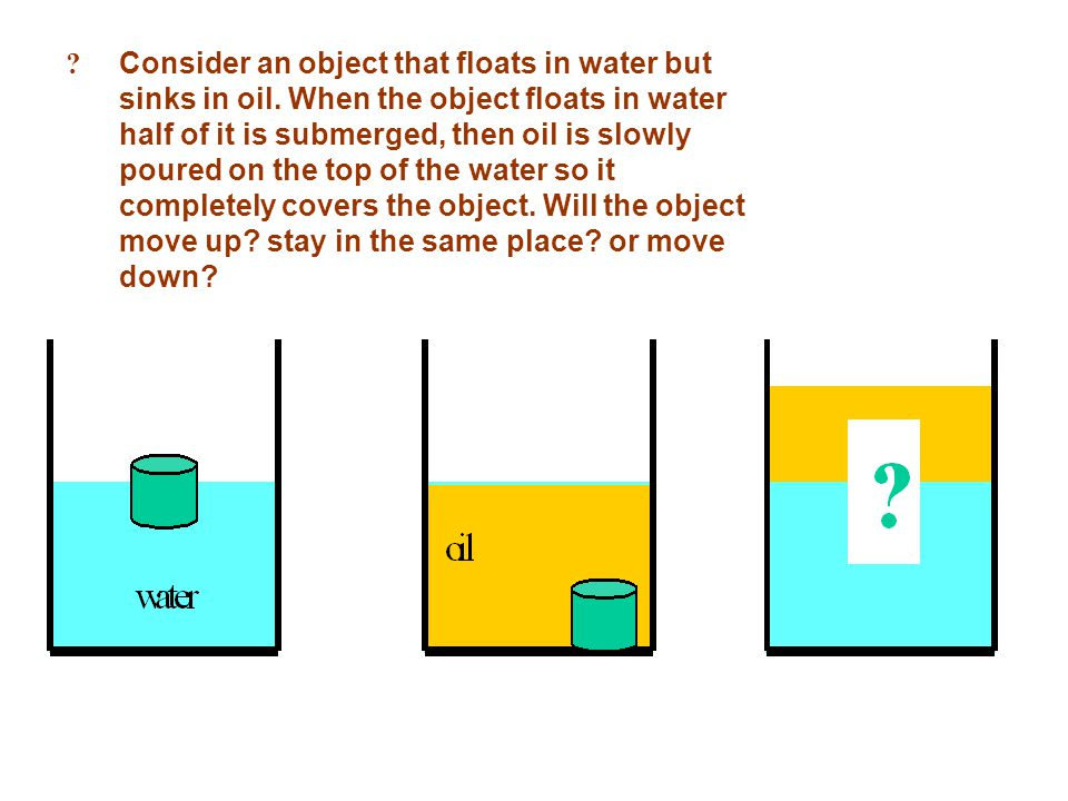 ? Consider an object that floats in water but sinks in oil. When the object floats in water half of it is submerged, then oil is slowly poured on the