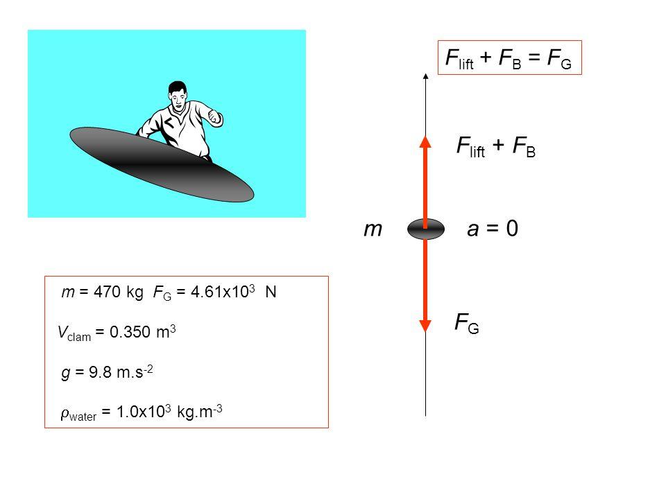 F lift + F B FGFG a = 0m m = 470 kg F G = 4.61x10 3 N V clam = 0.350 m 3 g = 9.8 m.s -2  water = 1.0x10 3 kg.m -3 F lift + F B = F G