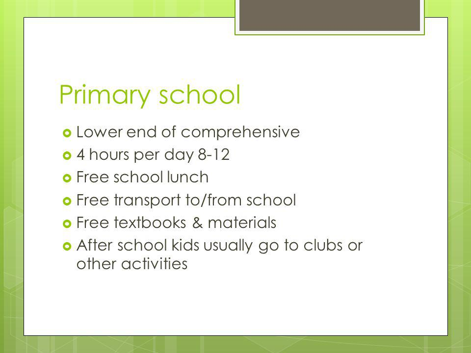 Primary school  Lower end of comprehensive  4 hours per day 8-12  Free school lunch  Free transport to/from school  Free textbooks & materials  After school kids usually go to clubs or other activities