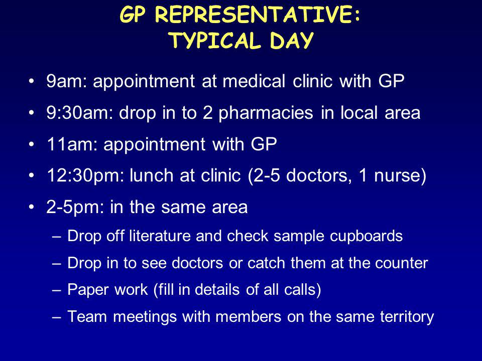 GP REPRESENTATIVE: TYPICAL DAY 9am: appointment at medical clinic with GP 9:30am: drop in to 2 pharmacies in local area 11am: appointment with GP 12:30pm: lunch at clinic (2-5 doctors, 1 nurse) 2-5pm: in the same area –Drop off literature and check sample cupboards –Drop in to see doctors or catch them at the counter –Paper work (fill in details of all calls) –Team meetings with members on the same territory