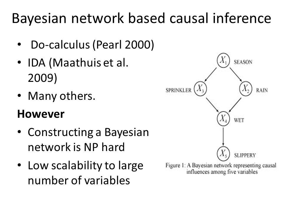 Bayesian network based causal inference Do-calculus (Pearl 2000) IDA (Maathuis et al. 2009) Many others. However Constructing a Bayesian network is NP