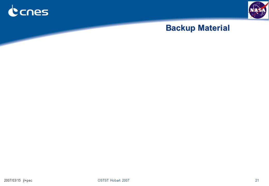 OSTST Hobart 2007212007/03/15 jl+psc Backup Material
