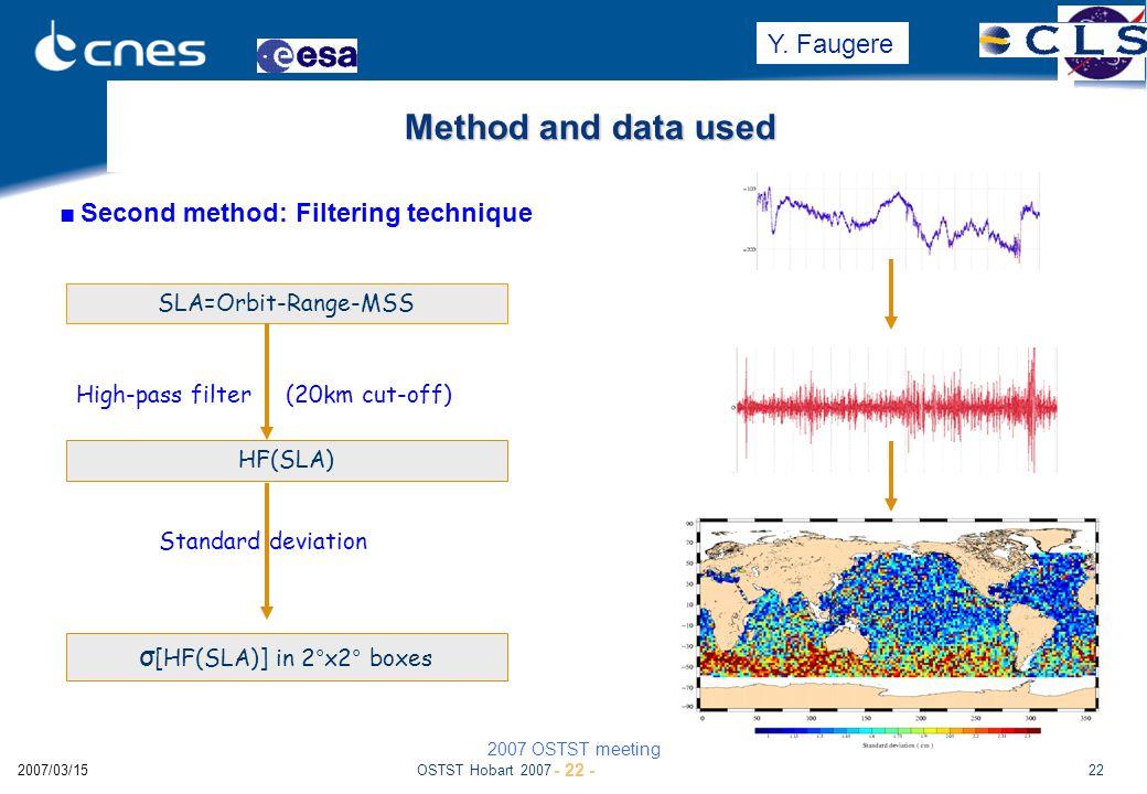 OSTST Hobart 2007222007/03/15 jl+psc Method and data used ■Second method: Filtering technique HF(SLA) High-pass filter (20km cut-off) SLA=Orbit-Range-MSS σ [HF(SLA)] in 2°x2° boxes Standard deviation 2007 OSTST meeting - 22 - Y.