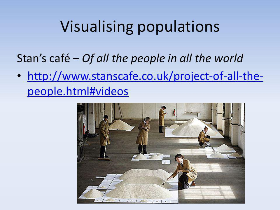 Visualising populations Stan's café – Of all the people in all the world http://www.stanscafe.co.uk/project-of-all-the- people.html#videos http://www.stanscafe.co.uk/project-of-all-the- people.html#videos
