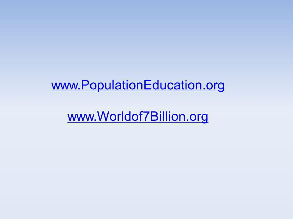 www.PopulationEducation.org www.Worldof7Billion.org