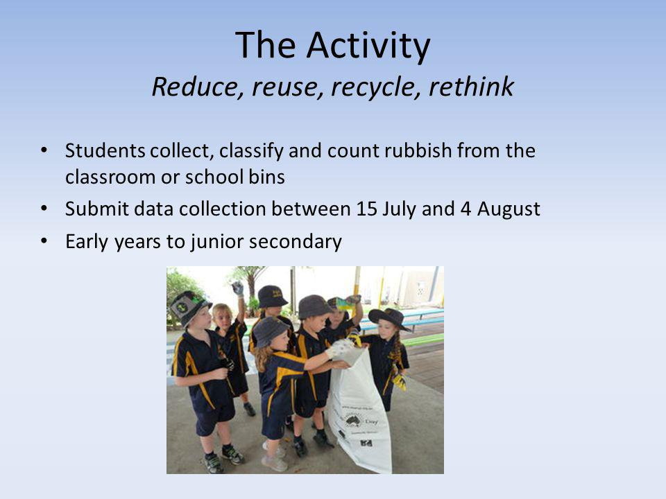 The Activity Reduce, reuse, recycle, rethink Students collect, classify and count rubbish from the classroom or school bins Submit data collection between 15 July and 4 August Early years to junior secondary