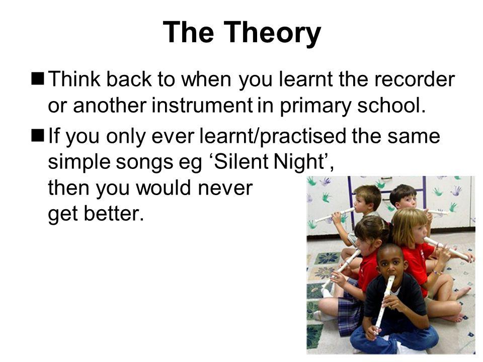 The Theory Think back to when you learnt the recorder or another instrument in primary school.