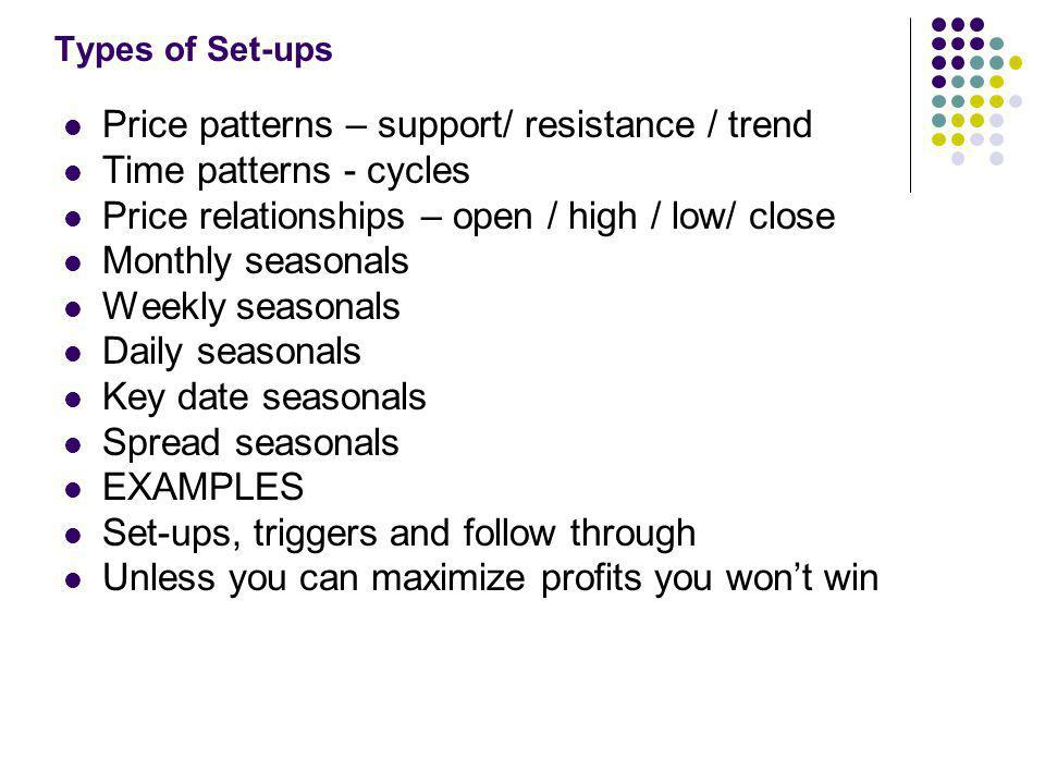 Types of Set-ups Price patterns – support/ resistance / trend Time patterns - cycles Price relationships – open / high / low/ close Monthly seasonals Weekly seasonals Daily seasonals Key date seasonals Spread seasonals EXAMPLES Set-ups, triggers and follow through Unless you can maximize profits you won't win