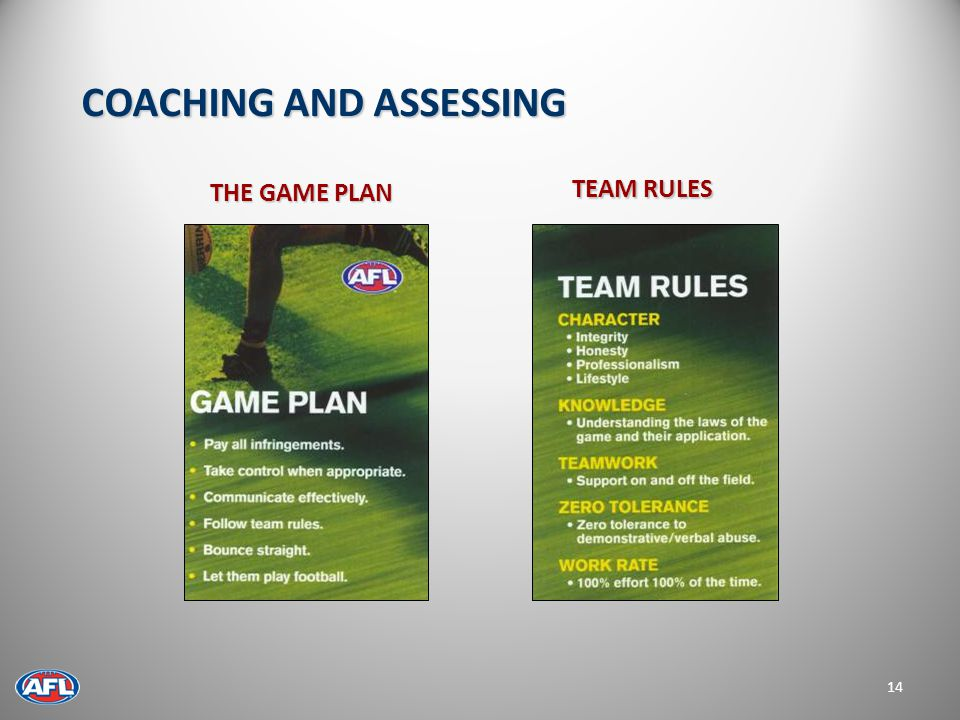 THE GAME PLAN 14 TEAM RULES COACHING AND ASSESSING