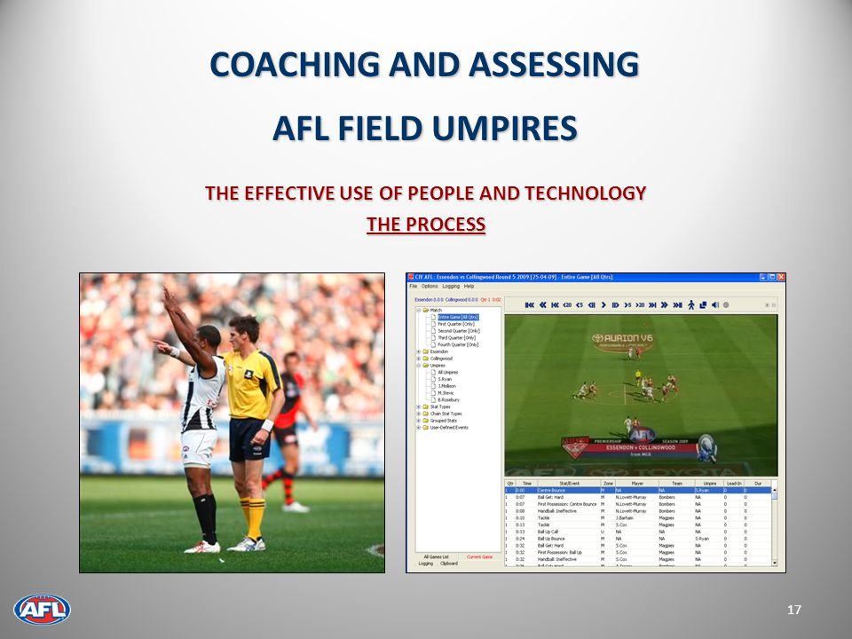 THE EFFECTIVE USE OF PEOPLE AND TECHNOLOGY THE PROCESS 17 COACHING AND ASSESSING AFL FIELD UMPIRES