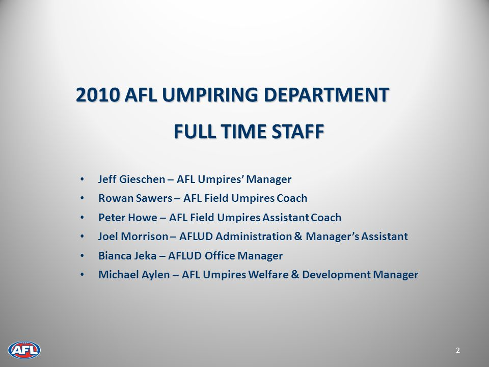 3 2010 AFL UMPIRES AND STATE COACHES
