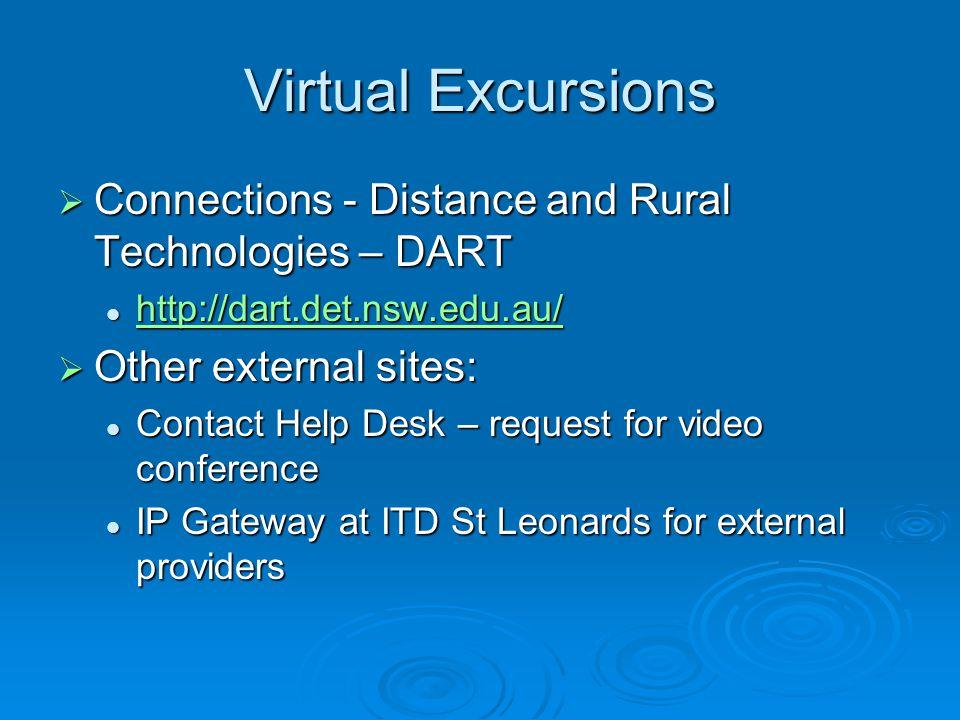 Virtual Excursions  Connections - Distance and Rural Technologies – DART http://dart.det.nsw.edu.au/ http://dart.det.nsw.edu.au/ http://dart.det.nsw.edu.au/  Other external sites: Contact Help Desk – request for video conference Contact Help Desk – request for video conference IP Gateway at ITD St Leonards for external providers IP Gateway at ITD St Leonards for external providers
