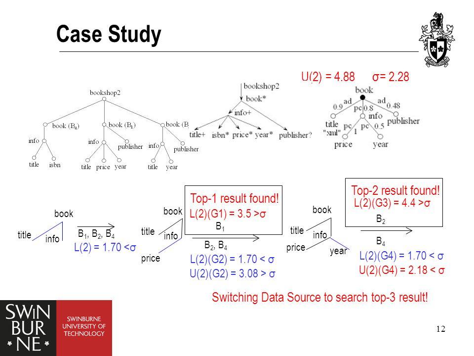 12 Case Study U(2) = 4.88 book title info L(2) = 1.70 <σ B 1, B 2, B 4 σ= 2.28 book title info price B1B1 B 2, B 4 L(2)(G1) = 3.5 >σ L(2)(G2) = 1.70 < σ U(2)(G2) = 3.08 > σ Top-1 result found.