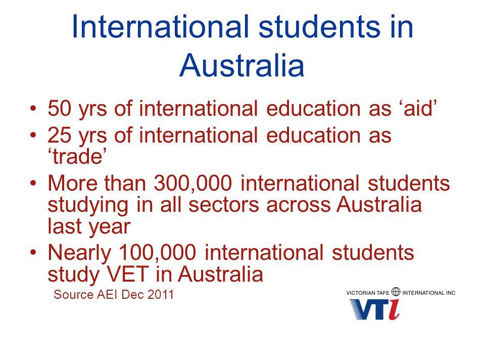 International students in Australia 50 yrs of international education as 'aid' 25 yrs of international education as 'trade' More than 300,000 internat
