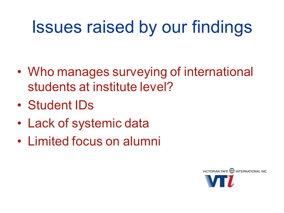 Issues raised by our findings Who manages surveying of international students at institute level.
