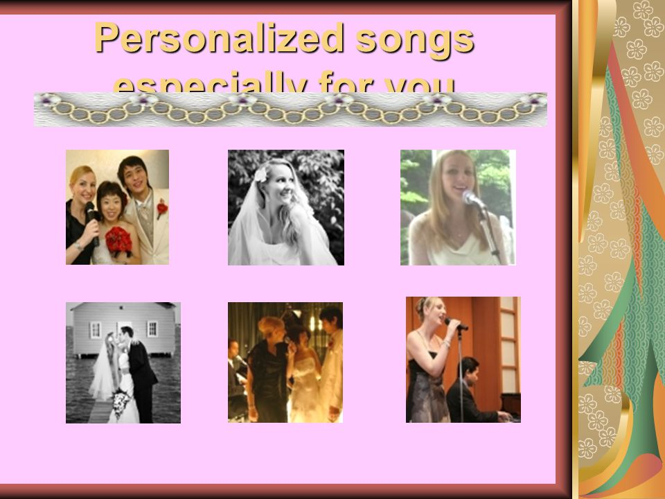 Music coordination We offer private consultations to help you in co- ordinating the perfect timing for each song performance during your wedding.
