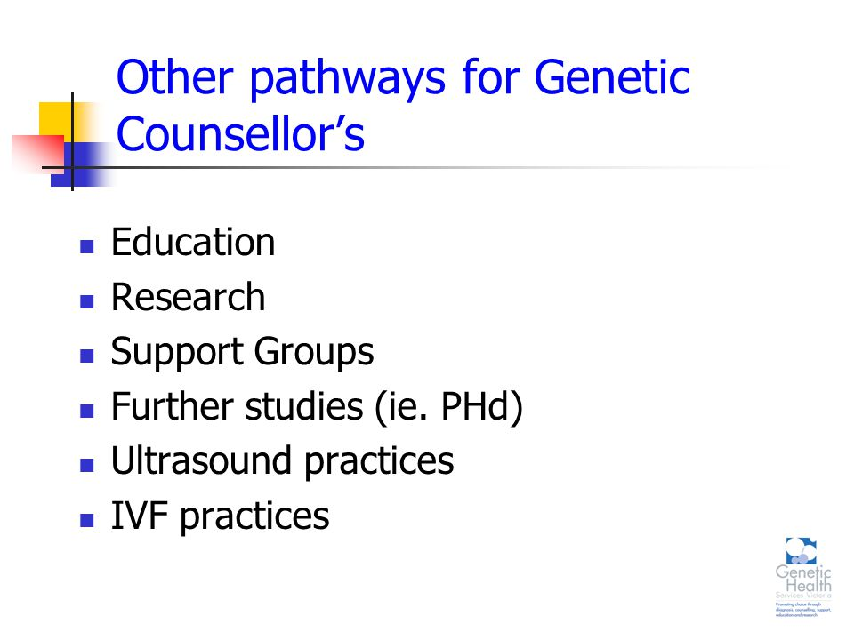 Other pathways for Genetic Counsellor's Education Research Support Groups Further studies (ie.