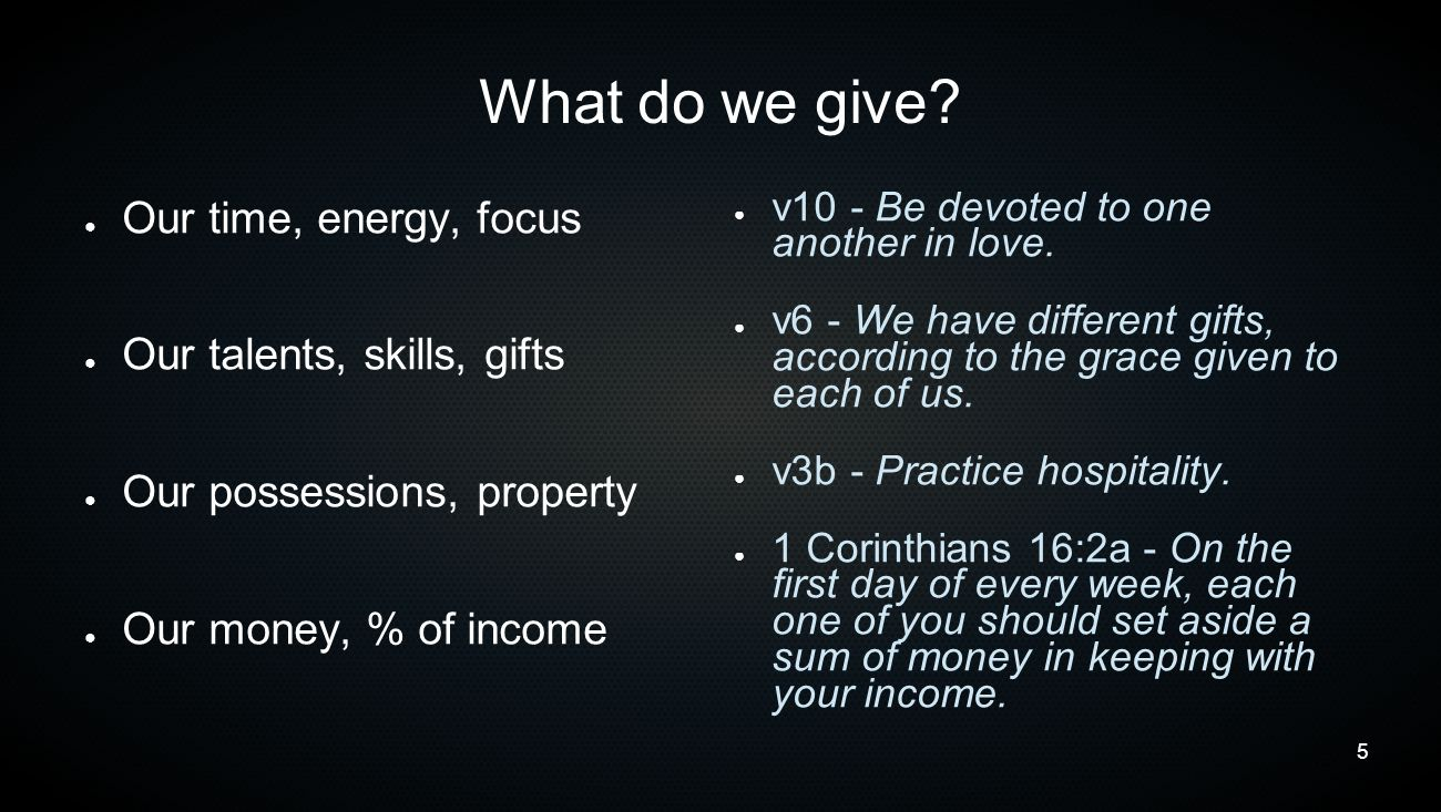 6 Who do we give to.