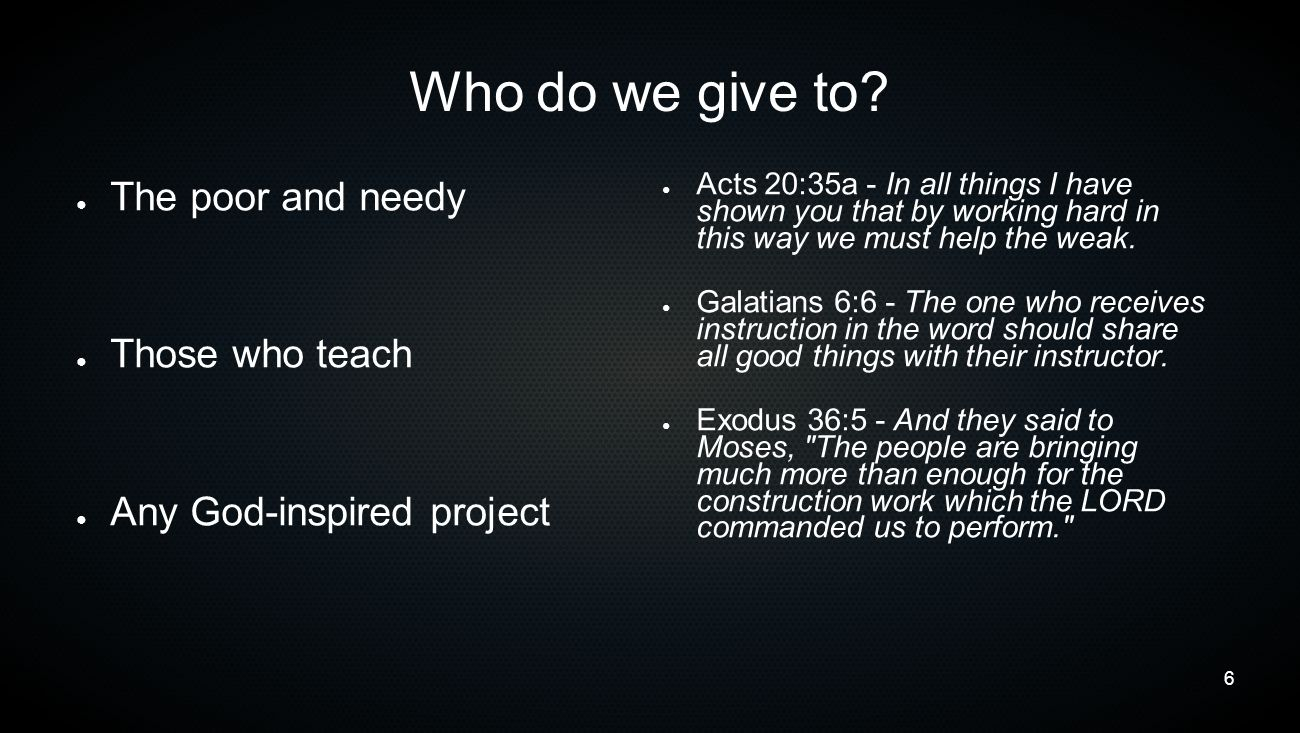 7 How do we give.