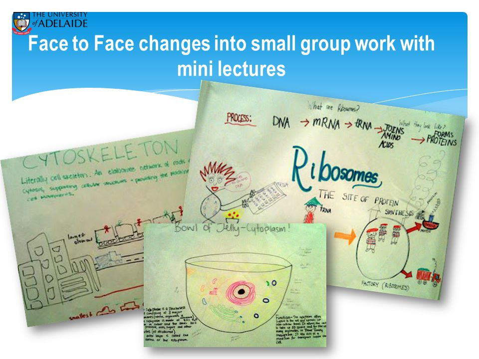 Face to Face changes into small group work with mini lectures