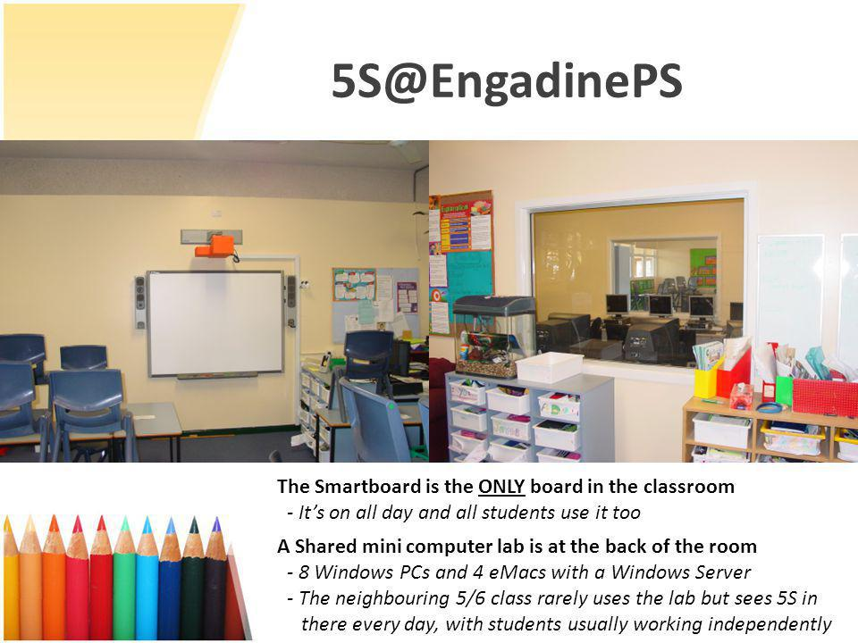 5S@EngadinePS A Shared mini computer lab is at the back of the room - 8 Windows PCs and 4 eMacs with a Windows Server - The neighbouring 5/6 class rarely uses the lab but sees 5S in there every day, with students usually working independently The Smartboard is the ONLY board in the classroom - It's on all day and all students use it too