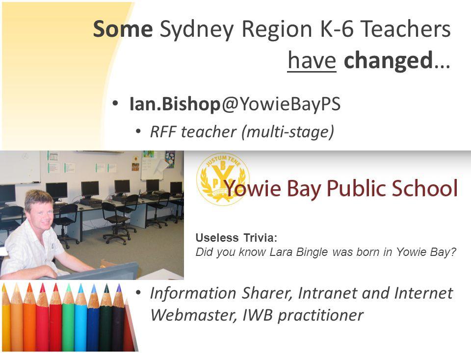 Some Sydney Region K-6 Teachers have changed… Ian.Bishop@YowieBayPS RFF teacher (multi-stage) Information Sharer, Intranet and Internet Webmaster, IWB practitioner Useless Trivia: Did you know Lara Bingle was born in Yowie Bay